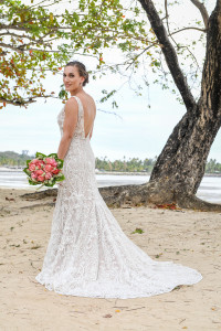 Stunning bride on sand shores