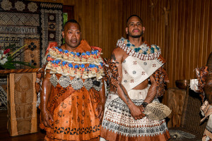 Traditionally clad groom and best man