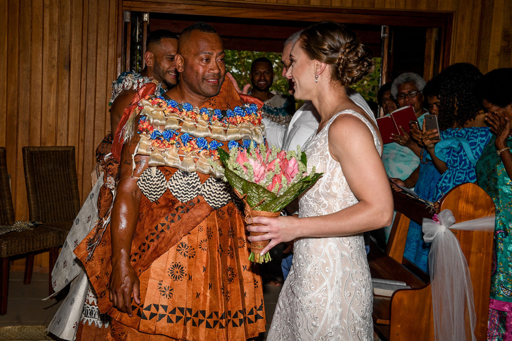 The eager Fiji groom finally meets his bride at the altar