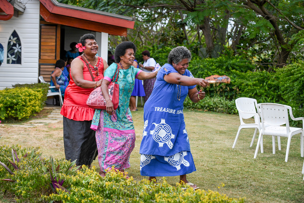 The Fiji family dance in celebration of their son's marriage
