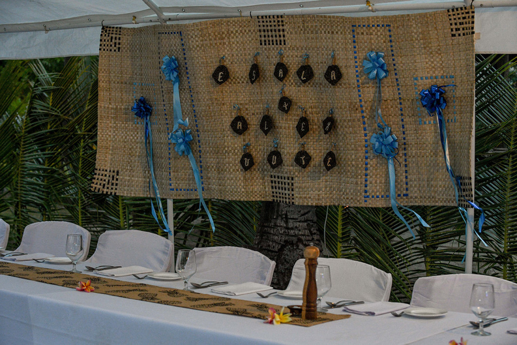 Fiji Handwoven kivu (mat) wedding placard of Esala + Alex Uute