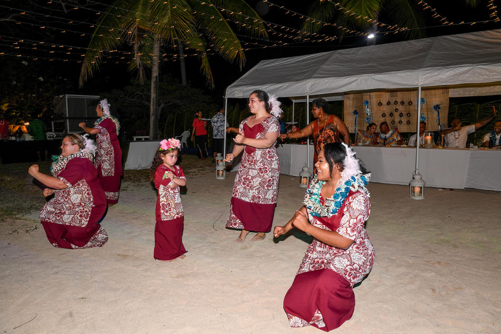 The groom's family present a traditional celebratory Fiji dance in traditional attire