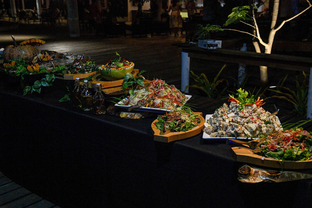 Colourful display of scrumptious wedding food at the Island bar