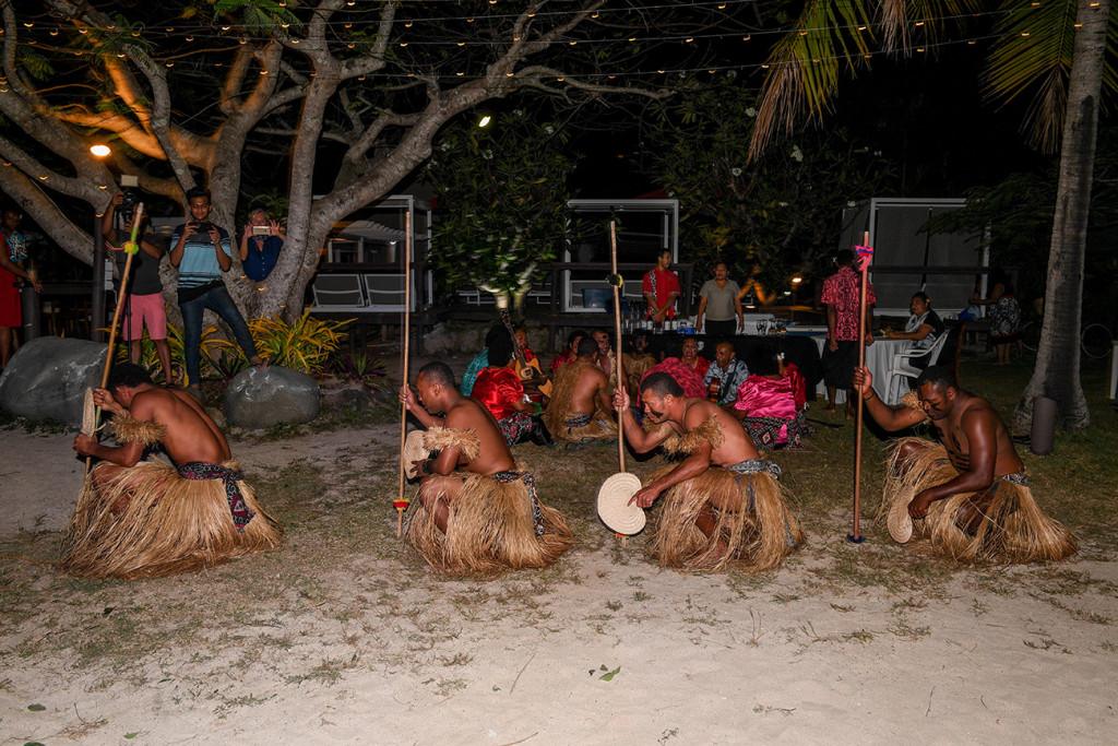 Traditional Fiji warriors perform a wedding dance