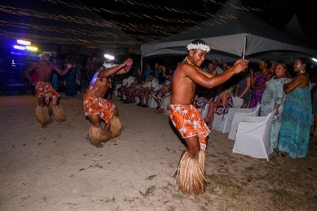 Male Fiji dancers take the dance floor at Musket Cove