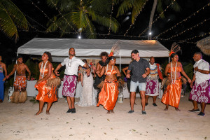 Bridal party join the dancers