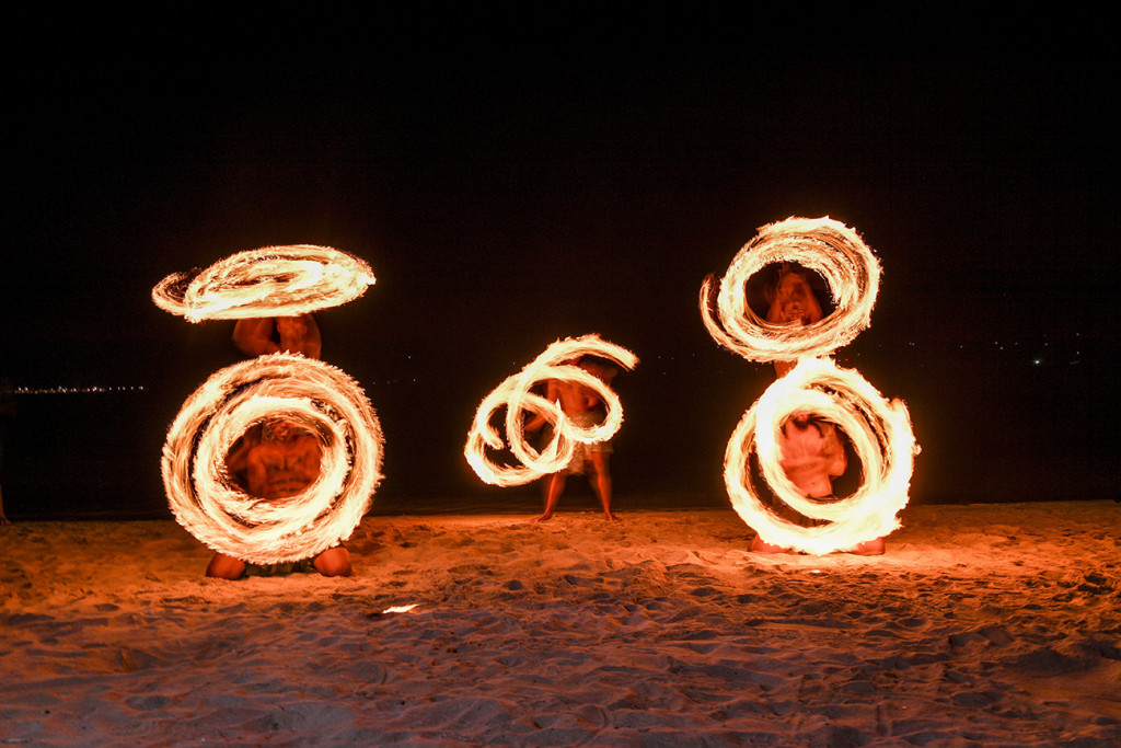 Various Fire dance displays by Musket Cove Fiji wedding entertainers at