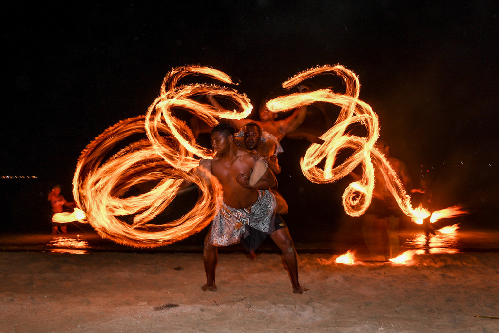 Fire pattern display by wedding entertainers