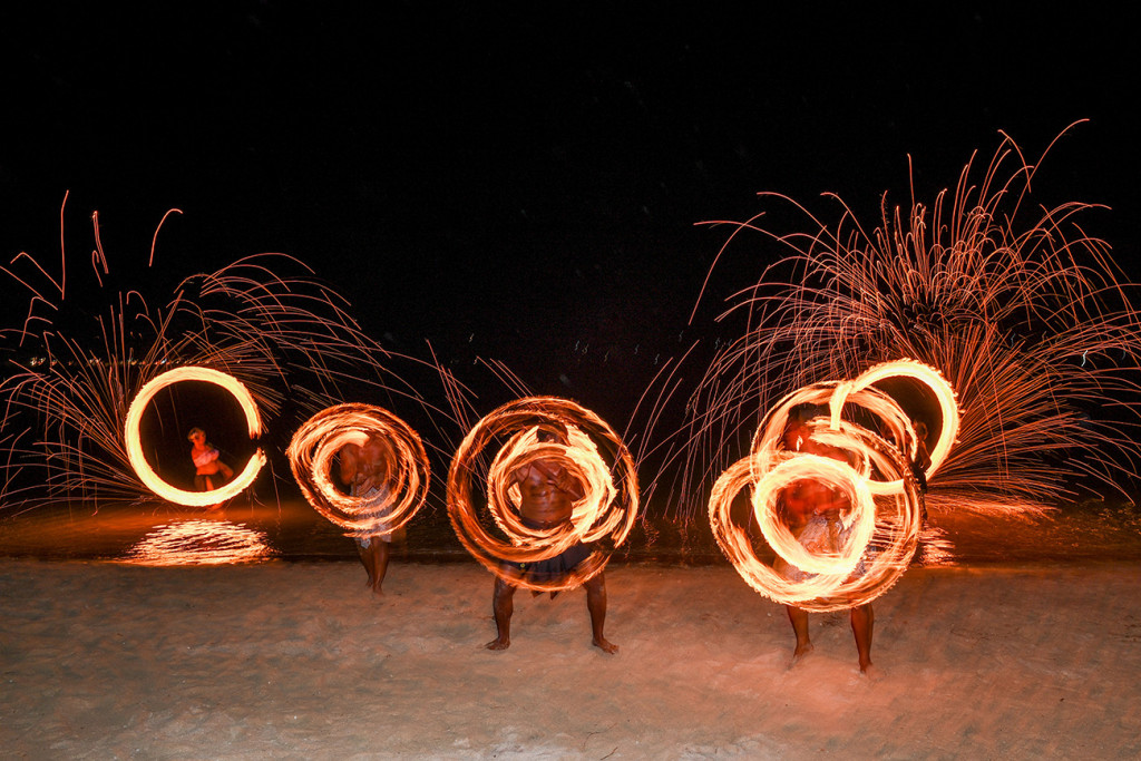 The entertainers put up a fire dance for the guests