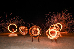 Fire dancing at the wedding
