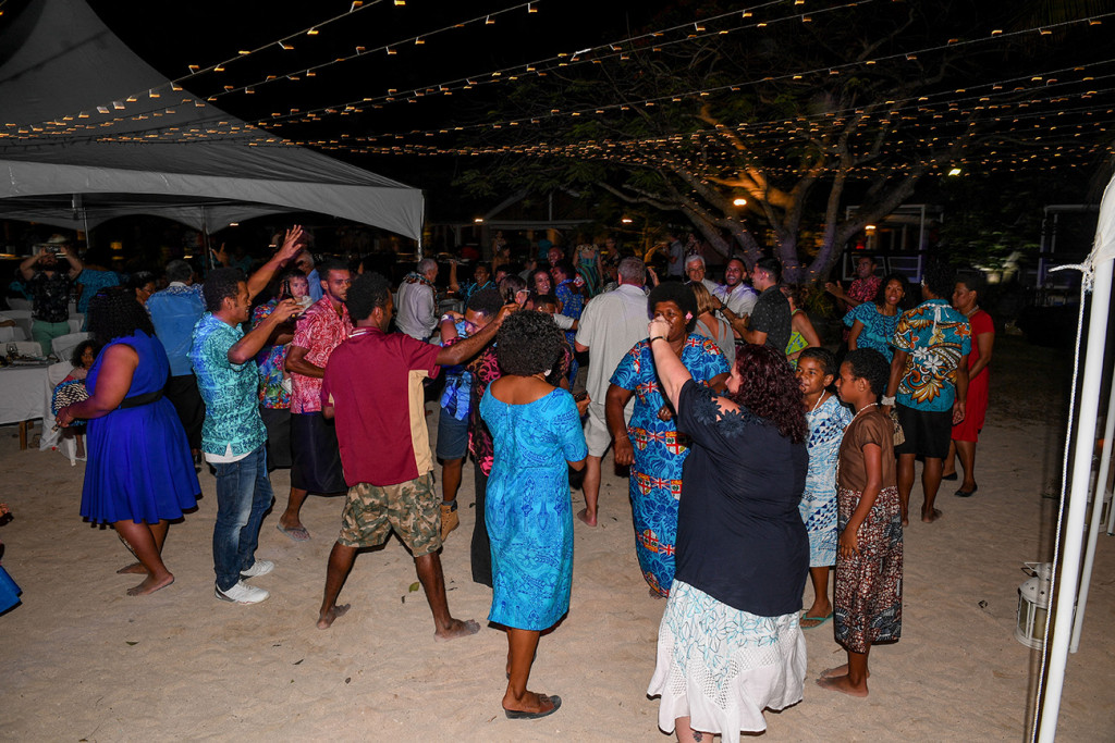 Wedding guests all join the dance floor at Musket Cove wedding reception