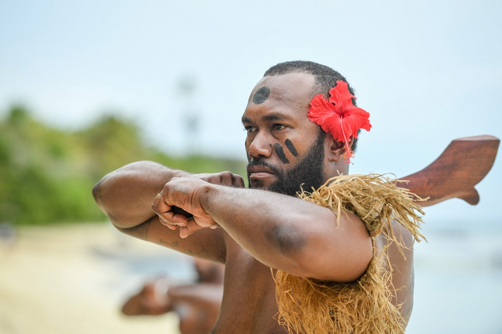 A traditional Fiji dance performs a ritual before the ceremony starts