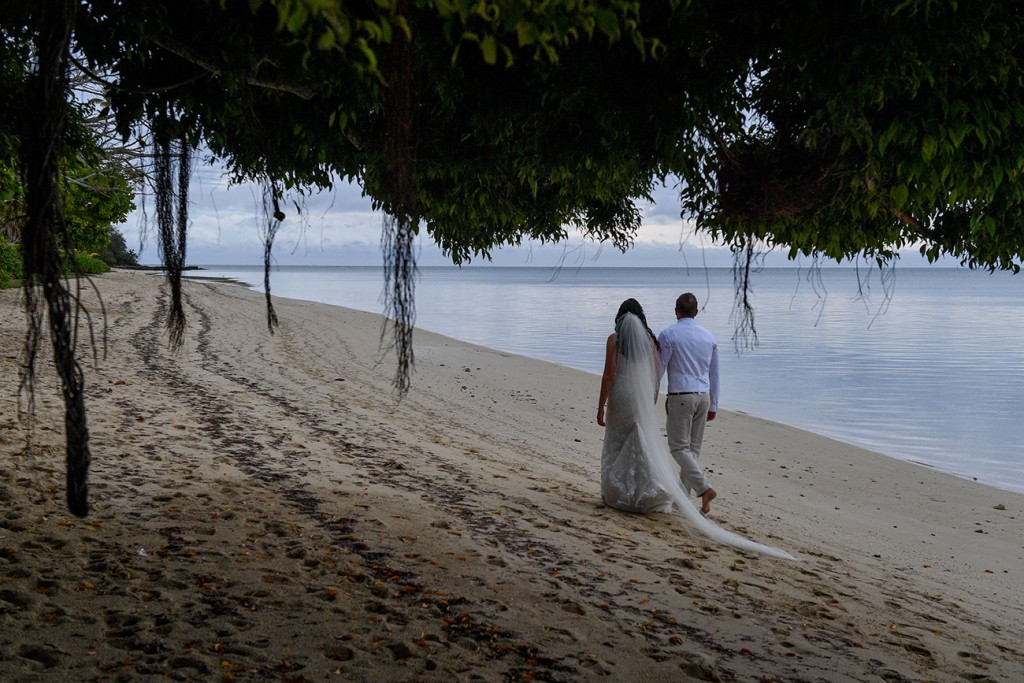 The newly weds stroll on the beach past hanging Island vegetation