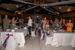 Wedding guests receive newly weds