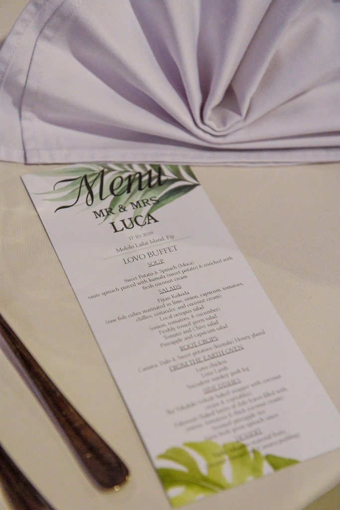A personalised wedding menu for the wedding