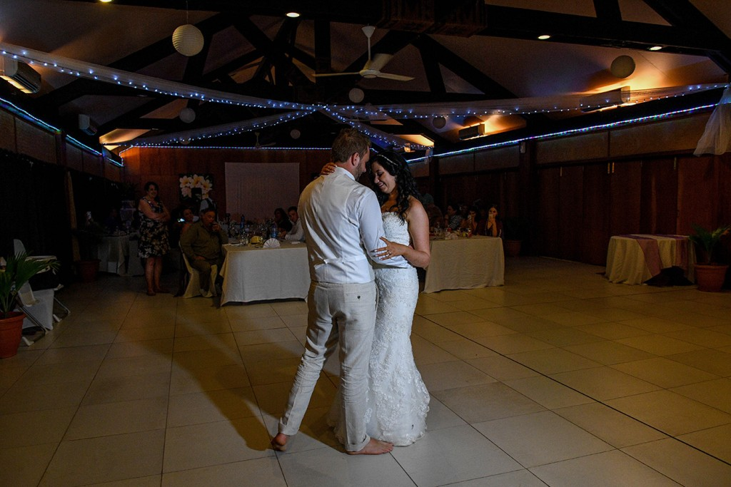 The newly weds take to the floor for their first dance as a married couple