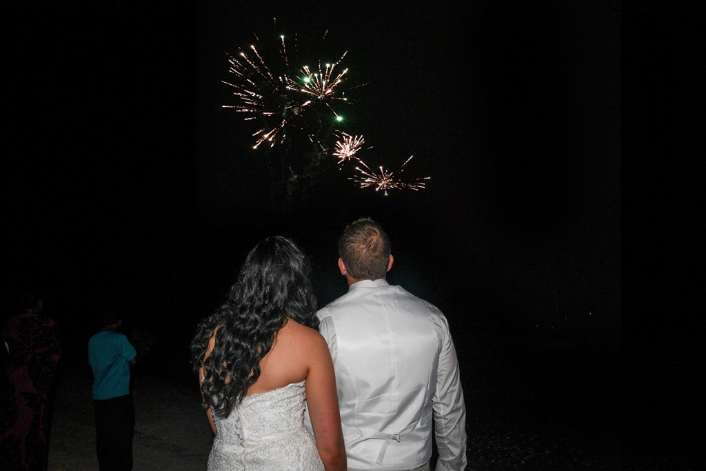 The newly weds watch fireworks in the sky