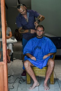The groom gets a quick haircut