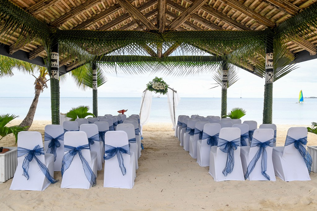 The wedding area setup by the beach