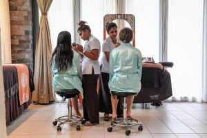 The bridal party have their makeup done by Intercontinental Fiji