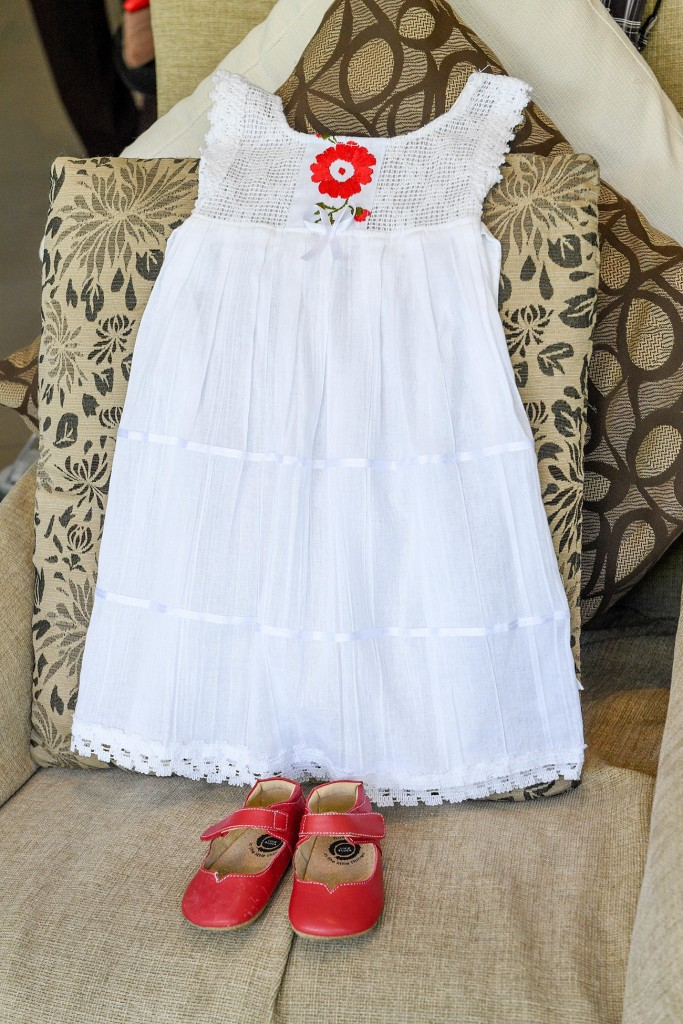 Cute red and white flower girl dress