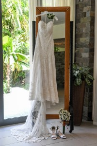 The glorious off-white, lace, wedding dress by Novella Bridal
