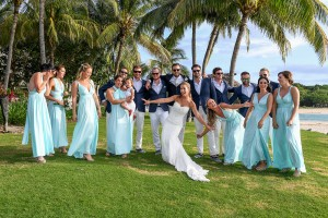 The bride curtsies in front of the entire bridal party
