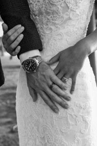 A closeup on the bride and groom's wedding rings