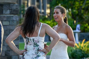 Bride chats with a guest