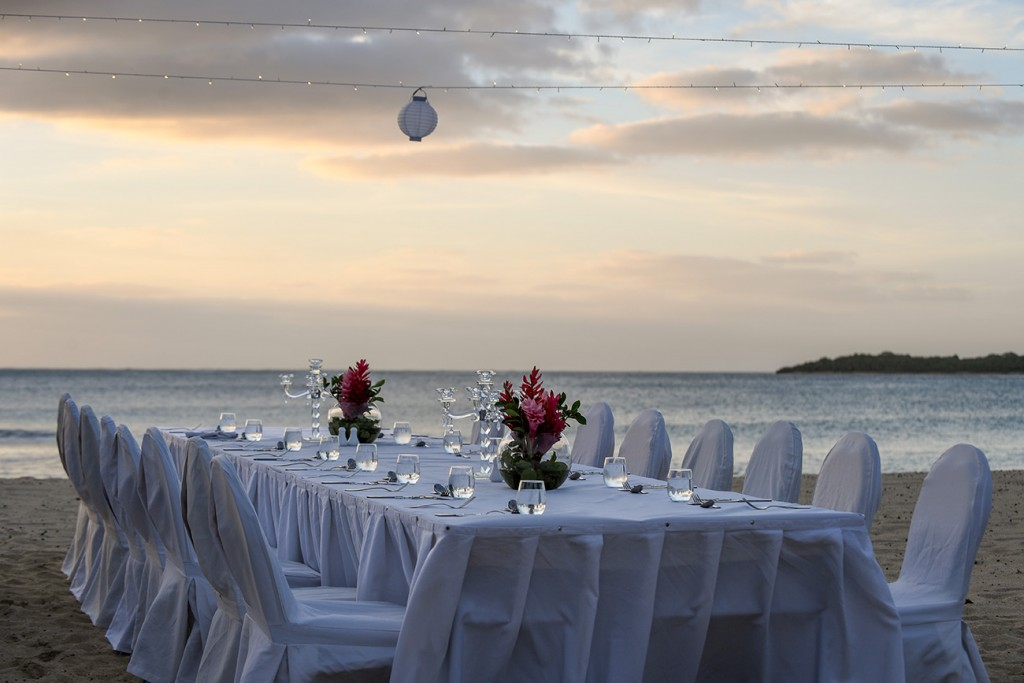 The magnificent wedding reception setup by the beach at Intercontinental Fiji