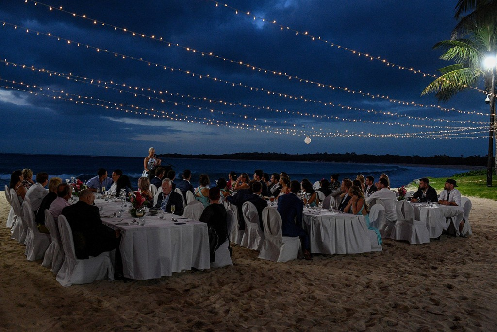 The magical wedding reception setup with fairy lights at the beach at the Intercontinental Fiji