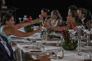 The wedding guests drink to the couple