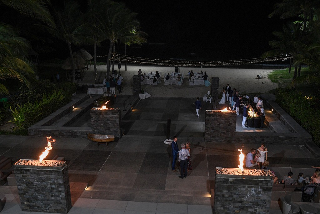 The Intercontinental Fiji outdoor wedding reception venue setup