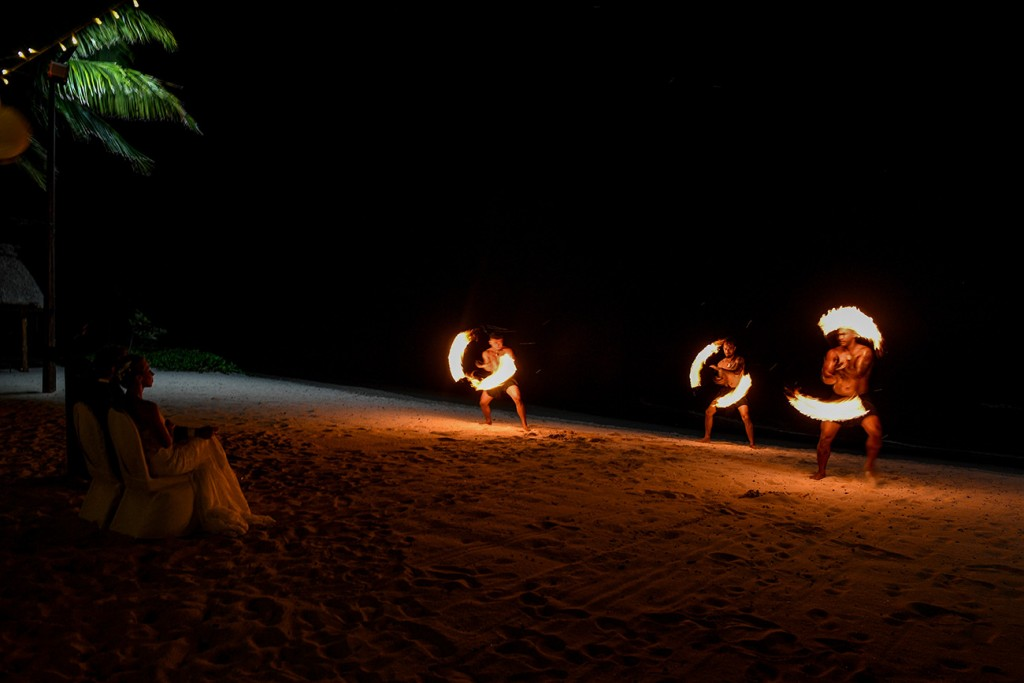 Traditional Fiji dancers from Rue Fiji perform a fire dance