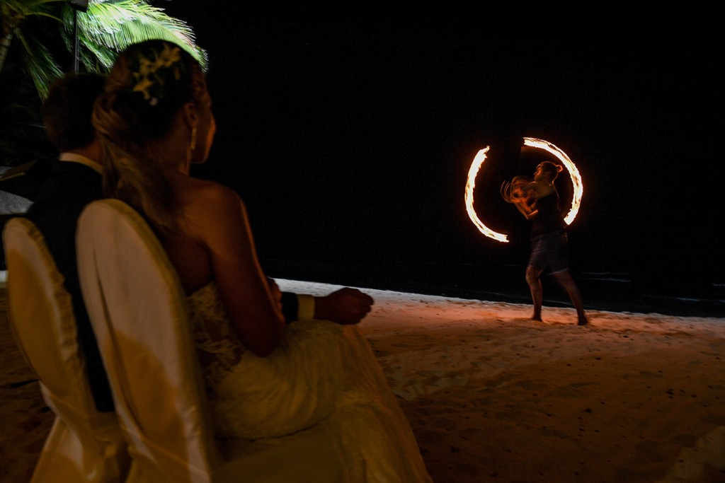 The newly weds enjoy a fire dance by Rue Fiji