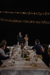 The married couple gives a speech under magical fairy lights
