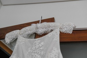 Lace torso on wedding gown