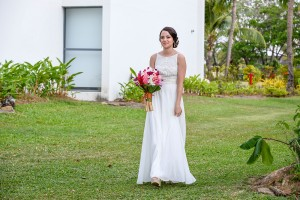 The stunning breathtaking bride walks down the aisle