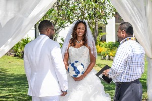 Bride, groom and celebrant