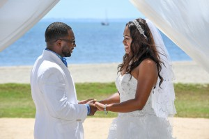 The couple exchange vows overlooking the stunning Fiji beach