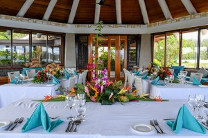 Tropical themed wedding setup