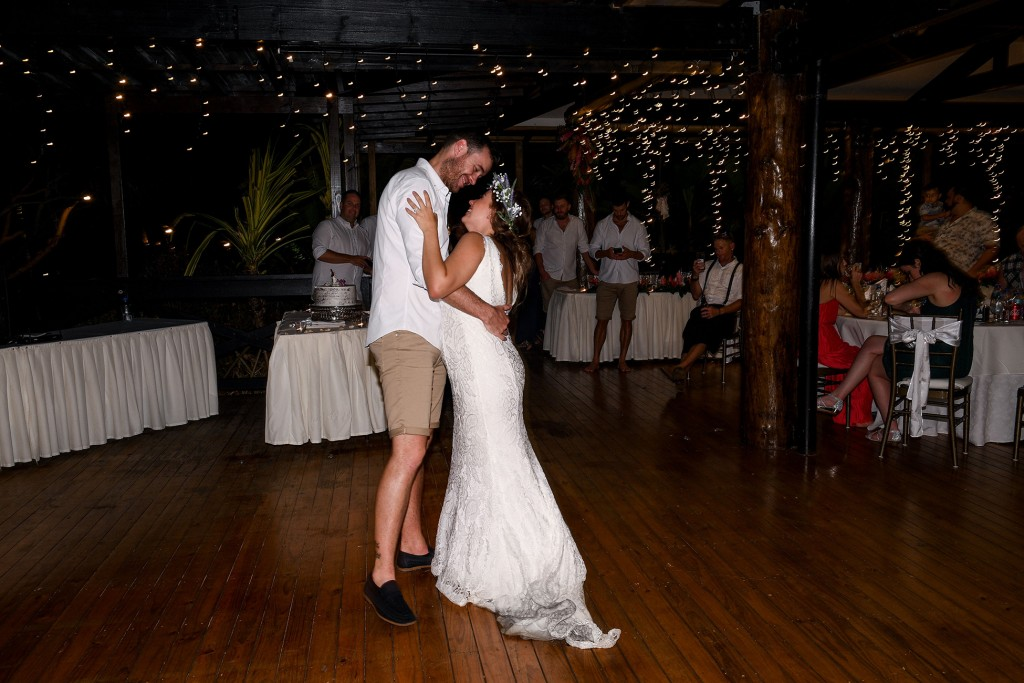 The newly weds share their first dance at their wedding reception