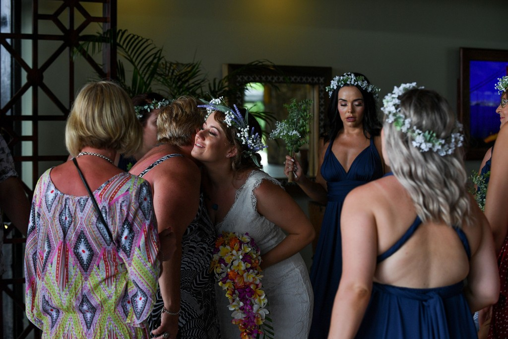 The bride is congratulated by guests after ceremony
