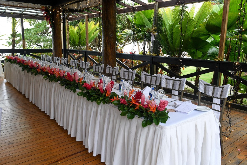 The exquisite traditional flower Fiji reception setup by Warwick Fiji