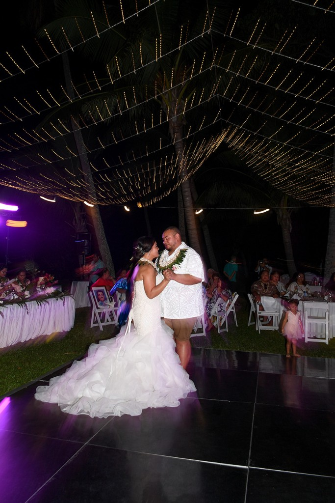 The Fiji newly weds share their first dance under Fairy lights in the Fiji sky