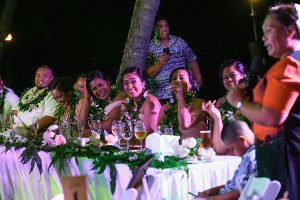 Fun bridal party at reception
