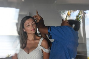 The stunning bride gets her hair and makeup made