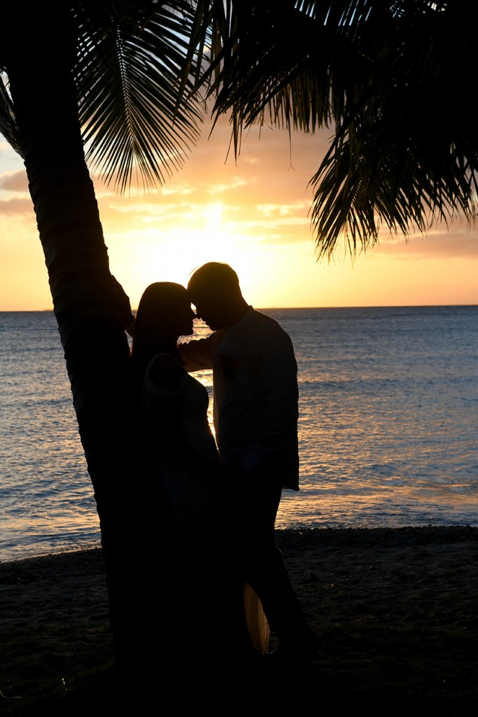 A intimate silhouette of the couple against a palm tree at sunset