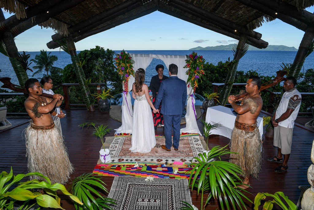 The simple but exquisite traditional Fiji wedding setup