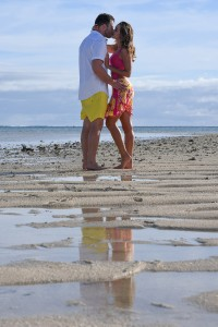 A passionate kiss shared on the beach at Nadi Fiji